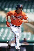 Baltimore Orioles first baseman Ryan Ripken (50) runs to first base during an Instructional League game against the Atlanta Braves on September 25, 2017 at Ed Smith Stadium in Sarasota, Florida.  (Mike Janes/Four Seam Images)