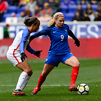 Harrison, NJ - Sunday March 04, 2018: Mallory Pugh, Eugénie Le Sommer during a 2018 SheBelieves Cup match match between the women's national teams of the United States (USA) and France (FRA) at Red Bull Arena.
