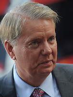 NEW YORK, NY - SEPTEMBER 01: U.S. Sen. Lindsey Graham (R-SC) waits to speak at a 'Stop Iran Rally,' regarding the Iran nuclear deal on September 1, 2015 in New York City. Graham is one of 16 Republican hopefuls running for the Republican presidential nomination. Congress has until September 16 to either officially support or denounce the deal<br /> <br /> <br /> People:  Sen. Lindsey Graham