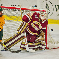19 February 2016: Boston College Eagle Goaltender Thatcher Demko, a Junior from San Diego, CA, tightly guards the post, keeping the puck safely out, during the third period against the University of Vermont Catamounts at Gutterson Fieldhouse in Burlington, Vermont. The Eagles defeated the Catamounts 3-1 in the first game of their weekend series. Mandatory Credit: Ed Wolfstein Photo *** RAW (NEF) Image File Available ***