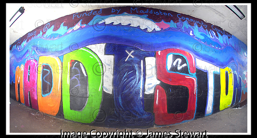 29/08/2007       Copyright Pic: James Stewart.File Name : 13_underpass.THE UNDERPASS IN MADDISTON PAINTED BY LOCALS....James Stewart Photo Agency 19 Carronlea Drive, Falkirk. FK2 8DN      Vat Reg No. 607 6932 25.Office     : +44 (0)1324 570906     .Mobile   : +44 (0)7721 416997.Fax         : +44 (0)1324 570906.E-mail  :  jim@jspa.co.uk.If you require further information then contact Jim Stewart on any of the numbers above........
