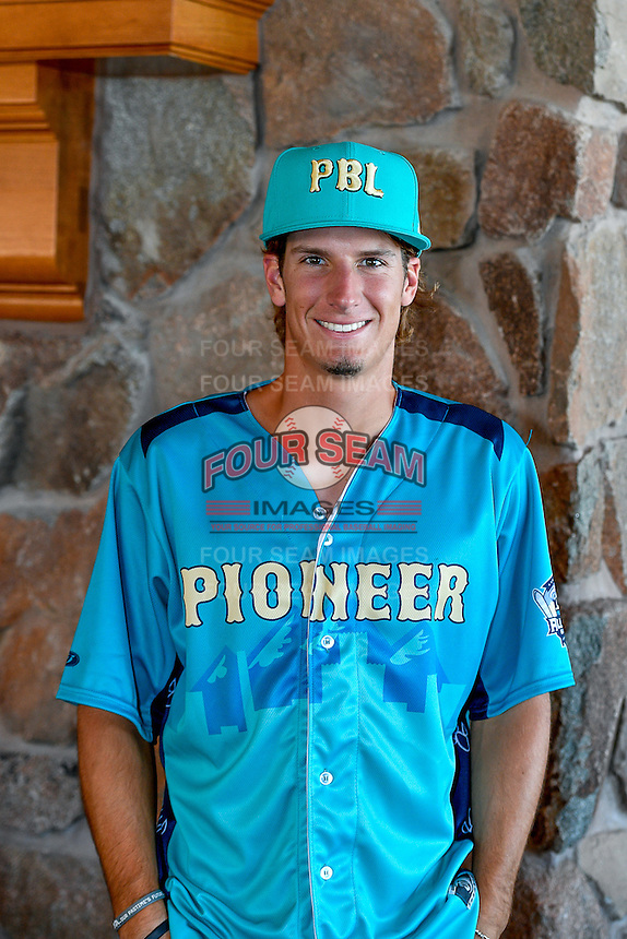 Mitchell Hansen (43) of the Ogden Raptors and the Pioneer League All-Stars poses for a photo during activities before the 2nd Annual Northwest League-Pioneer League All-Star Game at Snowbasin Resort on August 1, 2016 in Ogden, Utah. (Stephen Smith/Four Seam Images)