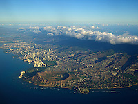 An ultra-high resolution aerial view of O'ahu includes Waikiki, Diamond Head, Honolulu, Kahala and Black Point.