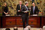"""Jose Luis Garcia Delgado receive the award between Irene Garrido, King Juan Carlos and Luis Maria Linde during the """"Premio de Economía Rey Juan Carlos"""" to Jose Luis Garcia Delgado at Banco de España in Madrid. November 17, Spain. 2016. (ALTERPHOTOS/BorjaB.Hojas)"""