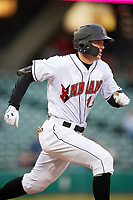 Indianapolis Indians right fielder Austin Meadows (13) runs to first base during a game against the Toledo Mud Hens on May 2, 2017 at Victory Field in Indianapolis, Indiana.  Indianapolis defeated Toledo 9-2.  (Mike Janes/Four Seam Images)