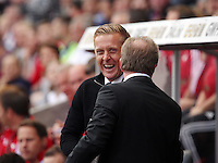 Pictured L-R: Swansea manager Garry Monk greets  Newcastle manager Steve McClaren  Saturday 15 August 2015<br /> Re: Premier League, Swansea City v Newcastle United at the Liberty Stadium, Swansea, UK.