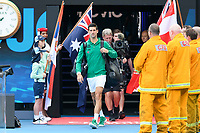 January 2, 2020: 2nd seed NOVAK DJOKOVIC (SRB) enters the stadium for the match against 5th seed DOMINIC THIEM (AUT) on Rod Laver Arena in the Men's Singles Final match on day 14 of the Australian Open 2020 in Melbourne, Australia. Photo Sydney Low