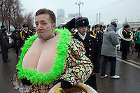 Moscow, Russia, 21/03/2010..Performers prepare for the 19th annual Moscow St Patrick's Day parade.