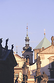 Prague, Czech Republic. Statues roofs and turrets and buildings in the Old Town.