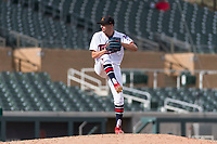 Salt River Rafters relief pitcher Devin Smeltzer (41), of the Minnesota Twins organization, delivers a pitch an Arizona Fall League game against the Surprise Saguaros at Salt River Fields at Talking Stick on October 23, 2018 in Scottsdale, Arizona. Salt River defeated Surprise 7-5 . (Zachary Lucy/Four Seam Images)
