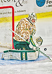 25 November 2014: University of Vermont Catamount Goaltender Brody Hoffman, a Junior from Wilkie, Saskatchewan, makes a third period save against the University of Massachusetts Minutemen at Gutterson Fieldhouse in Burlington, Vermont. The Cats defeated the Minutemen 3-1 to sweep the 2-game, home-and-away Hockey East Series. The 12th ranked Catamounts wore their camouflage uniforms for the evening to honor the US military. Mandatory Credit: Ed Wolfstein Photo *** RAW (NEF) Image File Available ***