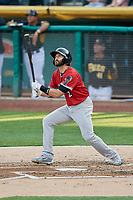 Steve Lombardozzi (2) of the Nashville Sounds bats against the Salt Lake Bees at Smith's Ballpark on July 27, 2018 in Salt Lake City, Utah. The Bees defeated the Sounds 8-6. (Stephen Smith/Four Seam Images)