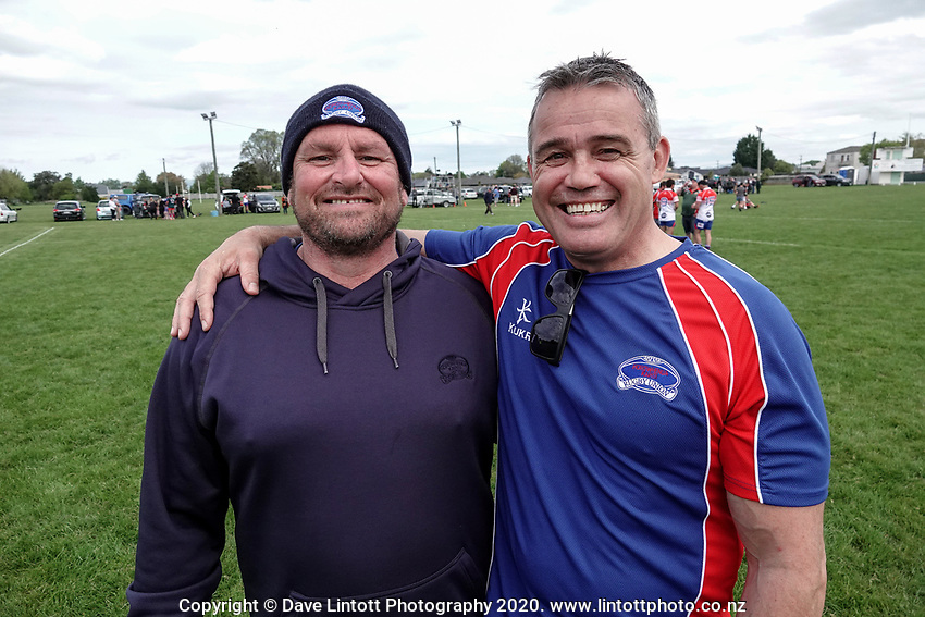 Horowhenua Kapiti head coach Chris Wilton and Horowhenua Kapiti chief executive Corey Kennett after the Heartland Championship and PGG Wrightson Cup rugby match between Wairarapa Bush and Horowhenua Kapiti at Carterton RFC in Carterton, New Zealand on Saturday, 10 October 2020. Photo: Dave Lintott / lintottphoto.co.nz
