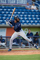 Mobile BayBears Jo Adell (25) at bat during a Southern League game against the Mobile BayBears on July 25, 2019 at Blue Wahoos Stadium in Pensacola, Florida.  Pensacola defeated Mobile 2-1 in the first game of a doubleheader.  (Mike Janes/Four Seam Images)