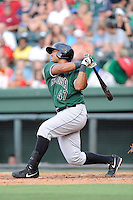 Catcher Gabriel Cornier (47) of the Augusta GreenJackets bats in a game against the Greenville Drive on Friday, July 11, 2014, at Fluor Field at the West End in Greenville, South Carolina. Greenville won, 7-6. (Tom Priddy/Four Seam Images)
