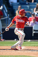 Philadelphia Phillies infielder Cesar Hernandez (16) during a spring training game against the New York Yankees on March 1, 2014 at Steinbrenner Field in Tampa, Florida.  New York defeated Philadelphia 4-0.  (Mike Janes/Four Seam Images)