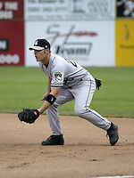July 26, 2004:  Chris Gimenez of the Mahoning Valley Scrappers, Short-Season Low-A NY-Penn League affiliate of the Cleveland Indians, during a game at Dwyer Stadium in Batavia, NY.  Photo by:  Mike Janes/Four Seam Images