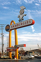 Googies: McDonald's--Sign, 1953. SW Corner, Lakewood & Florence, Downey CA.  Photo '87.