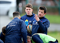 Jake Sharp of London Scottish discusses tactics in warm up during the Greene King IPA Championship match between London Scottish Football Club and Jersey at Richmond Athletic Ground, Richmond, United Kingdom on 16 December 2017. Photo by Mark Kerton / PRiME Media Images.