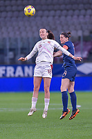 Swiss Riola Xhemaili (18) , French Charlotte Bilbault (14) pictured during the 2nd Womens International Friendly game between France and Switzerland at Stade Saint-Symphorien in Longeville-lès-Metz, France.