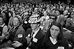 Young Conservatives wearing hats applaud their leader. Conservative Party Conference 1980. Strike back with the Tories.