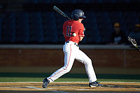 Jonathan Embry (11) of the Liberty Flames is hit by a pitch during the game against the Wake Forest Demon Deacons at David F. Couch Ballpark on April 25, 2018 in  Winston-Salem, North Carolina.  The Demon Deacons defeated the Flames 8-7.  (Brian Westerholt/Four Seam Images)