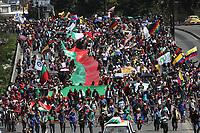 BOGOTÁ - COLOMBIA, 4-12-2019:Paro Nacional.Manifestantes de La Guardia Indígena del Cauca y estudiantes universidades públicas de Bogotá ./<br /> National strike. Protesters of the Indigenous Guard of Cauca and students public universities of Bogotá . Photo: VizzorImage / Felipe Caicedo / Satff