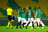 ARMENIA -COLOMBIA, 22-09-2020:Richard Renteria de Deportivo Cali celebra después de anotar el primer gol de su equipo durante el partido entre Cúcuta Deportivo y Deportivo Cali por la fecha 9 de la Liga BetPlay DIMAYOR I 2020 jugado en el estadio Centenario de la ciudad de Armenia. / Richard Renteria of Deportivo Cali celebrates after scoring the first goal of his team during match between Cucuta Deportivo  and Deportivo Cali for the date 9 BetPlay DIMAYOR League I 2020 played at Centenario stadium in Armenia city city. Photo: VizzorImage/ Ricardo Vejarano / Contribuidor