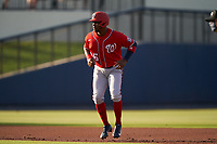 Washington Nationals Victor Robles (16) leads off second base during a Major League Spring Training game against the Houston Astros on March 19, 2021 at The Ballpark of the Palm Beaches in Palm Beach, Florida.  (Mike Janes/Four Seam Images)