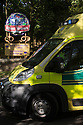 02/06/15<br /> <br /> An ambulance, with blue lights flashing, leaves Alton Towers, Staffordshire, after a roller-coaster crash at the theme park injured many visitors earlier this afternoon.<br /> <br /> All Rights Reserved: F Stop Press Ltd. +44(0)1335 418629   www.fstoppress.com.