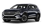 Stock pictures of low aggressive front three quarter view of 2021 Hyundai Santa-FE Shine 5 Door SUV Low Aggressive