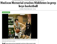 Memorial's Kyle Yu comes around Middleton's Cole Deptula in the first period, as Middleton takes on Madison Memorial in Wisconsin Big Eight Conference boys basketball on Friday, 12/20/19 at James Madison Memorial High School in Madison | Wisconsin State Journal Article page B4 Sports 12/21/19 and online at https://madison.com/wsj/sports/high-school/basketball/boys/madison-memorial-crushes-middleton-in-prep-boys-basketball/article_499d9f48-22f2-51b8-a618-1d5ab55400b4.html