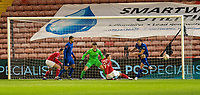 11th February 2021; Oakwell Stadium, Barnsley, Yorkshire, England; English FA Cup Football, Barnsley FC versus Chelsea; Marcos Alonso of Chelsea clears as Cauley Woodrow of Barnsley comes close to taking the lead