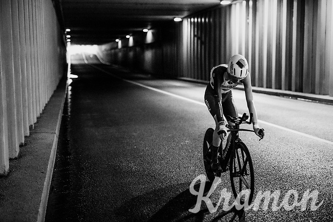 Romain Bardet (FRA/AG2R-La Mondiale) returning through a tunnel to the team buses after finishing the opening TT<br /> <br /> 104th Tour de France 2017<br /> Stage 1 (ITT) - Düsseldorf › Düsseldorf (14km)