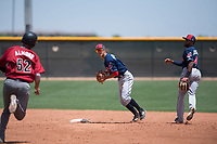 Cleveland Indians shortstop Tyler Freeman (7) prepares to make a throw to first base to complete a double play during an Extended Spring Training game against the Arizona Diamondbacks at the Cleveland Indians Training Complex on May 27, 2018 in Goodyear, Arizona. (Zachary Lucy/Four Seam Images)
