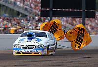 Aug. 18, 2013; Brainerd, MN, USA: NHRA pro stock driver Allen Johnson during the Lucas Oil Nationals at Brainerd International Raceway. Mandatory Credit: Mark J. Rebilas-