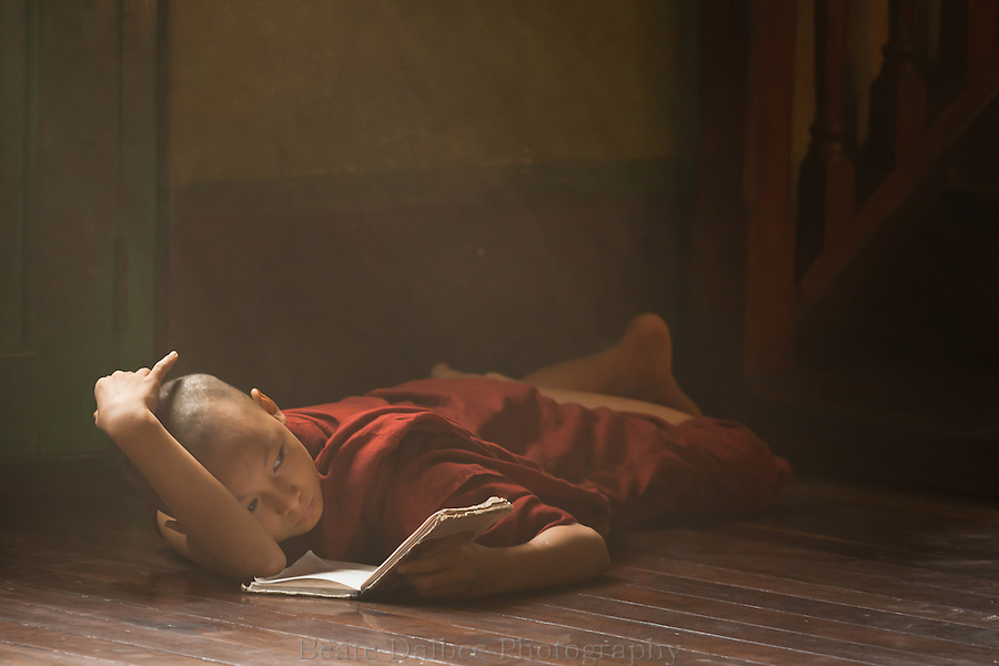 Young monk studying in a monastery in Yangon, Myanmar
