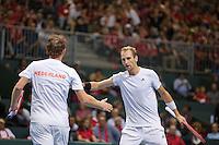 Switserland, Genève, September 19, 2015, Tennis,   Davis Cup, Switserland-Netherlands, Doubles: Dutch team Matwe Middelkoop/Thiemo de Bakker (R)  photo 6<br /> Photo: Tennisimages/Henk Koster