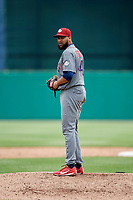 Lehigh Valley IronPigs relief pitcher Pedro Beato (44) gets ready to deliver a pitch during a game against the Syracuse Chiefs on May 20, 2018 at NBT Bank Stadium in Syracuse, New York.  Lehigh Valley defeated Syracuse 5-2.  (Mike Janes/Four Seam Images)