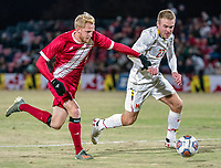 COLLEGE PARK, MD - NOVEMBER 15: Simon Waever #3 of Indiana and Matt Di Rosa #27 of Maryland go after the ball during a game between Indiana University and University of Maryland at Ludwig Field on November 15, 2019 in College Park, Maryland.