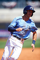 Charlotte Stone Crabs first baseman Grant Kay (2) running the bases during a game against the Palm Beach Cardinals on April 10, 2016 at Charlotte Sports Park in Port Charlotte, Florida.  Palm Beach defeated Charlotte 4-1.  (Mike Janes/Four Seam Images)