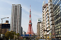 The Tokyo Tower, surrounded by residential and office buildings.<br /> <br /> Image ID: 2278366