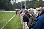 Ramsbottom United 1 Barwell 3, 03/10/2015. Riverside Stadium, Northern Premier League. Home team supporters watching the first-half action at the Harry Williams Riverside Stadium, home to Ramsbottom United as they played Barwell in a Northern Premier League premier division match. This was the club's 13th league game of the season and they were still to record their first victory following a 3-1 defeat, watched by a crowd of 176. Rams bottom United were formed by Harry Williams, the current chairman, in 1966 and progressed from local amateur football  in Bury to the semi-professional leagues. Photo by Colin McPherson.