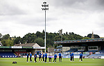 Ross County v St Johnstone…31.07.21  Global Energy Stadium<br />The St Johnstone players on the pitch at the Global Energy Stadium shortly after arriving in Dingwall.<br />Picture by Graeme Hart.<br />Copyright Perthshire Picture Agency<br />Tel: 01738 623350  Mobile: 07990 594431