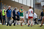 Gavin White, Kerry, Peter Harte, Tyrone, after the Allianz Football League Division 1 Semi-Final, between Tyrone and Kerry at Fitzgerald Stadium, Killarney, on Saturday.