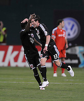 DC United forward Chris Pontius (13) celebrates with team mate Clyde Simms his goal in the 86th minute of the game.   DC United tied Toronto FC. 3-3 at  RFK Stadium, Saturday May 9, 2009.