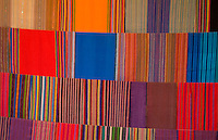 Close up of fabrics with color in Lake Atitlan village of San Santiago Guatemala in Central America