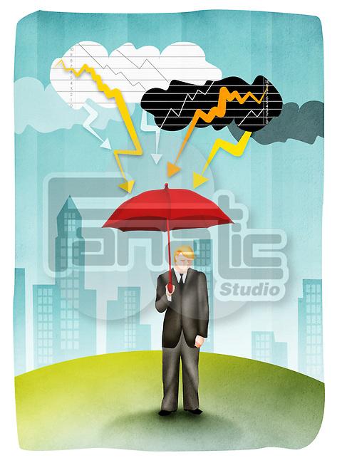 Man holding umbrella in storm