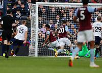 3rd October 2021; Tottenham Hotspur Stadium. Tottenham, London, England; Premier League football, Tottenham versus Aston Villa: Ollie Watkins of Aston Villa shoots and scores his sides 1st goal in the 67th minute to make it 1-1