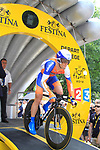 Maarten Tjallingii (NED) Rabobank powers down the start ramp of the Prologue of the 99th edition of the Tour de France 2012, a 6.4km individual time trial starting in Parc d'Avroy, Liege, Belgium. 30th June 2012.<br /> (Photo by Eoin Clarke/NEWSFILE)